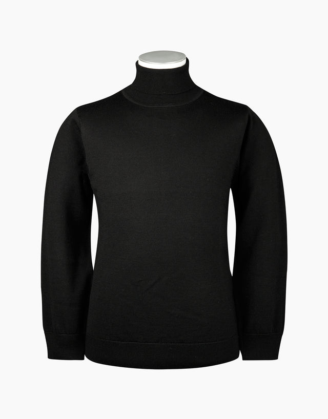 Wanaka Black Roll Neck Jersey