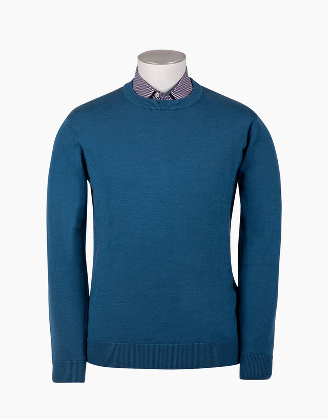 Naseby Dust Blue Crew Neck Jersey