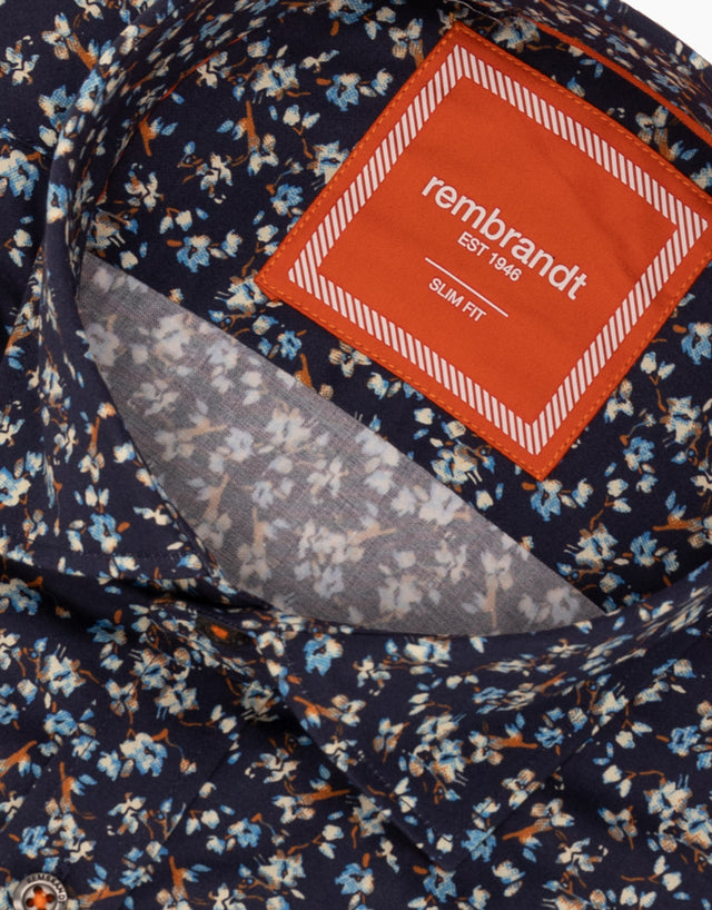 Knight navy floral shirt
