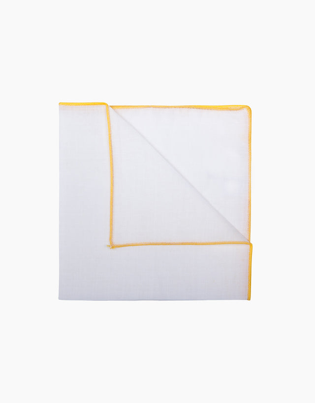 White with Yellow Border Linen Pocket Square