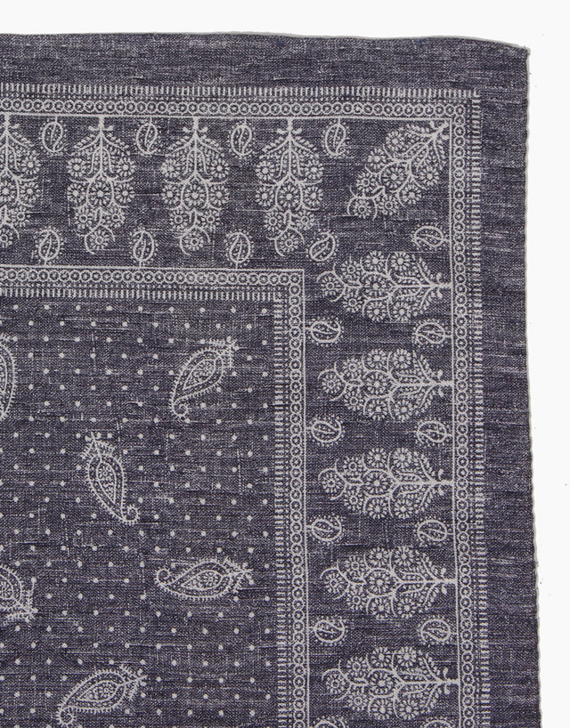 Blue Paisley Silk & Cotton Pocket Square