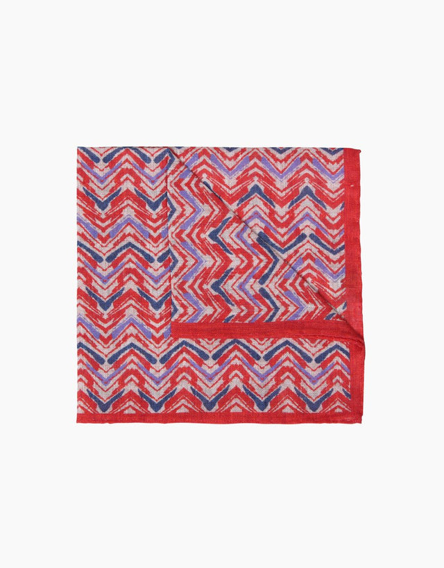 Red Print Linen Pocket Square