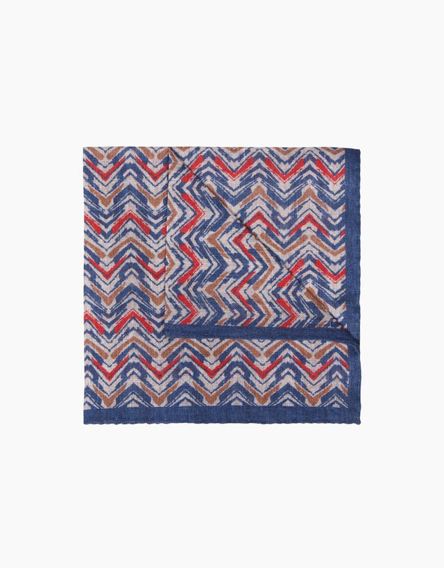 Blue Print Linen Pocket Square