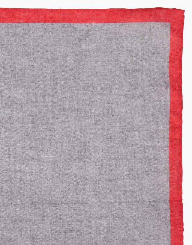 Grey with Red Boarder Linen Pocket Square
