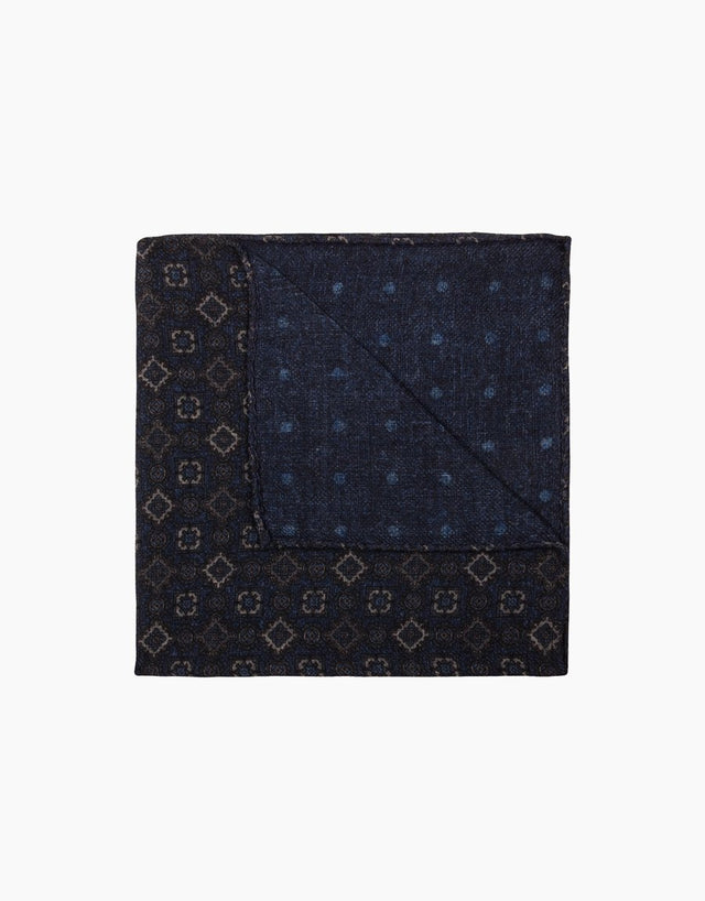 Navy & Blue Geometric Polka Dot Reversible Wool Pocket Square
