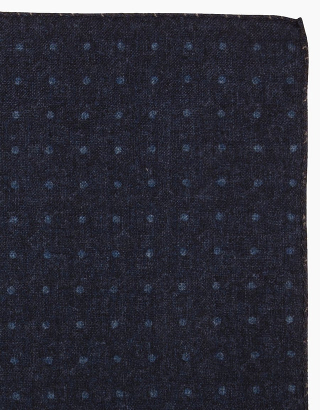 Navy Geometric and Dot Wool Reversible Pocket Square