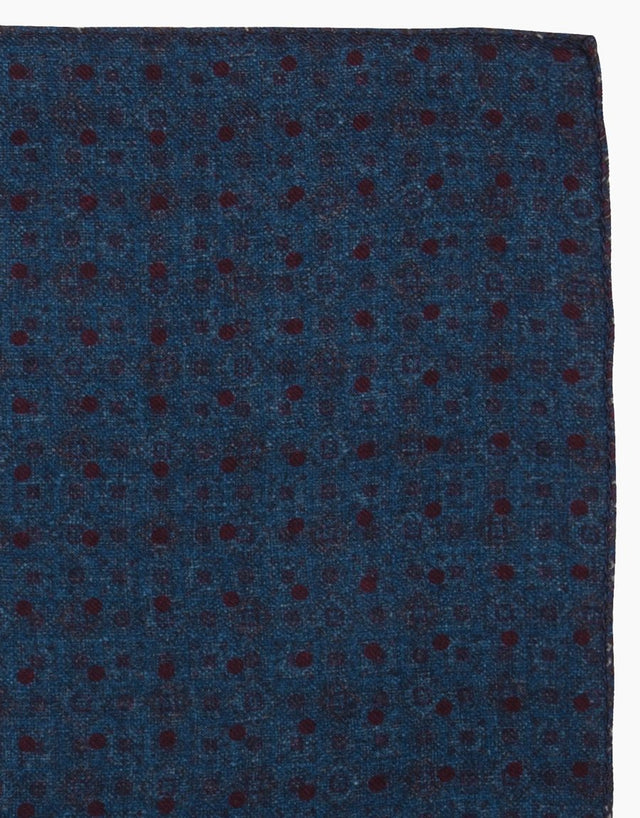 Blue & Maroon Geometric Polka Dot Reversible Wool Pocket Square