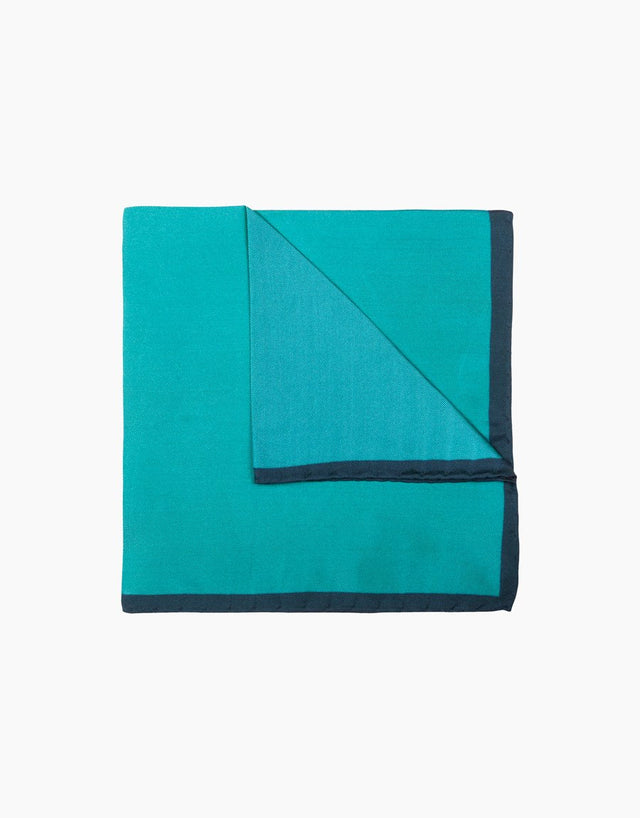 Aqua & Green Silk Pocket Square