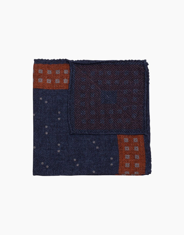 Navy and orange dot pocket square