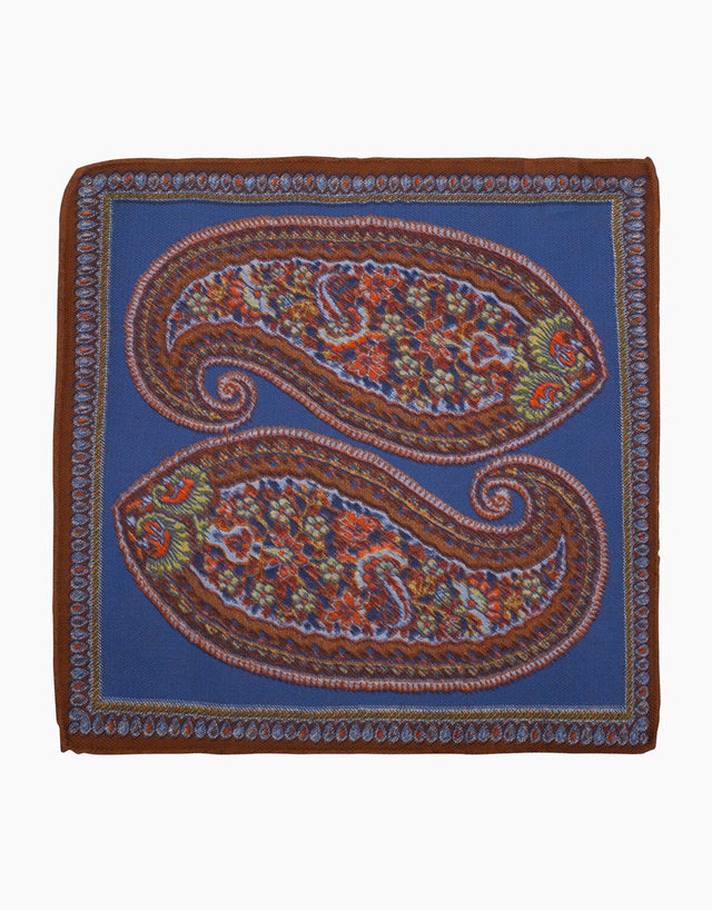 Blue and Brown Paisley Silk Pocket Square