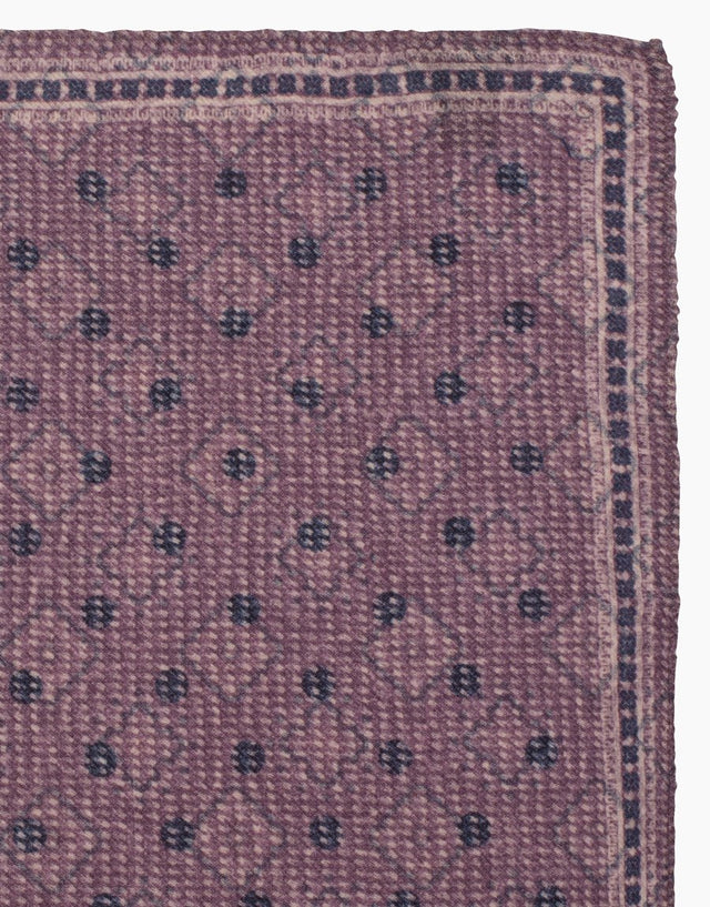 Lilac, paisley & dot reversible silk pocket square