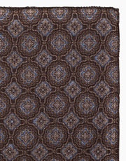 Brown Paisley and Dot Reversible Wool Pocket Square