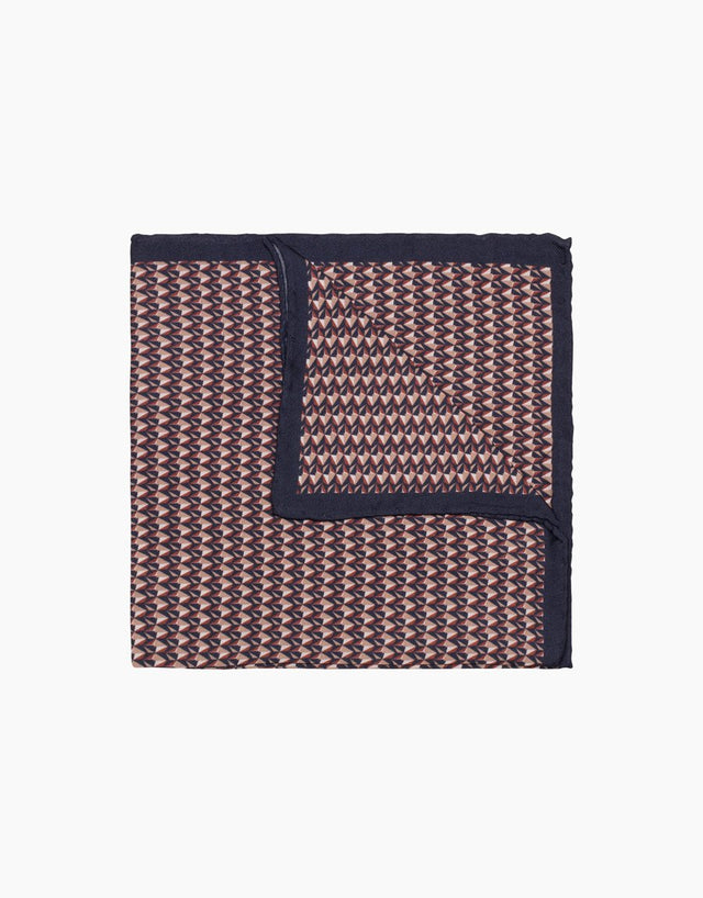 Geometric Print Silk Pocket Square