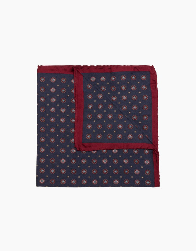 Navy Geometric Silk Pocket Square