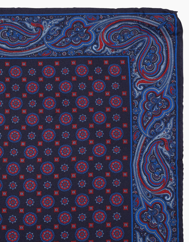Navy Paisley Silk Pocket Square