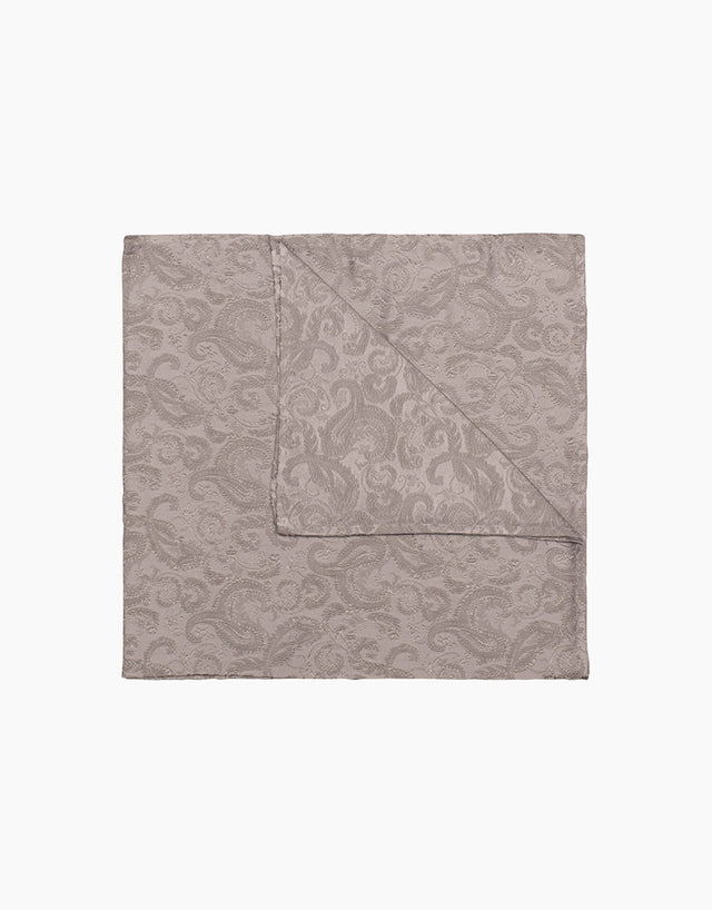 Silver floral silk pocket square