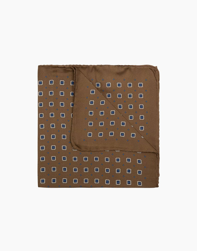 Brown Geometric Pocket Square
