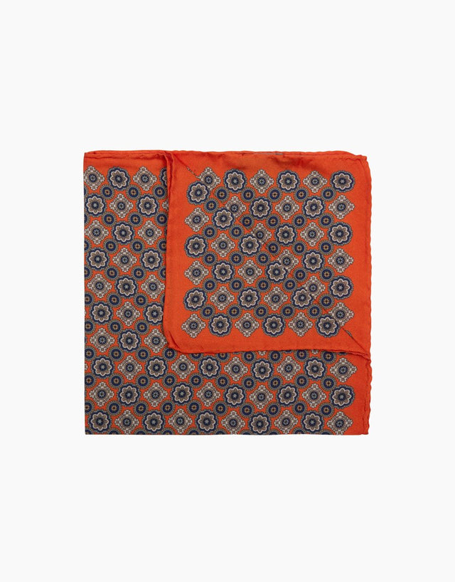 Orange Floral Dot Pocket Square