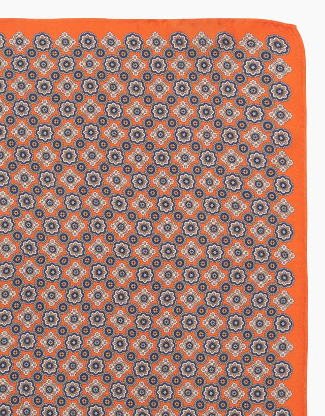 Orange Floral Dot Silk Pocket Square