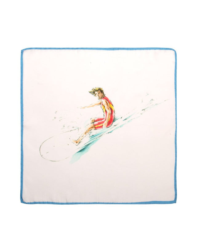 Surf Print Silk Pocket Square