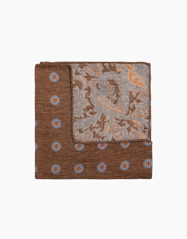 Brown Paisley Floral Pocket Square