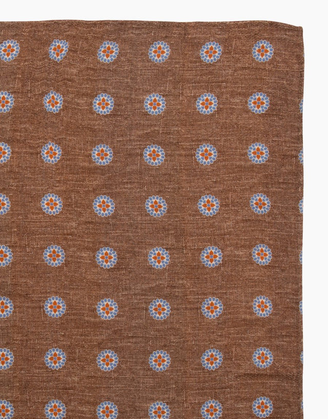 Brown Paisley Floral Silk Pocket Square