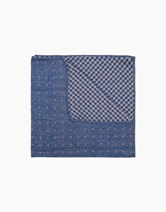Blue Check Floral Pocket Square