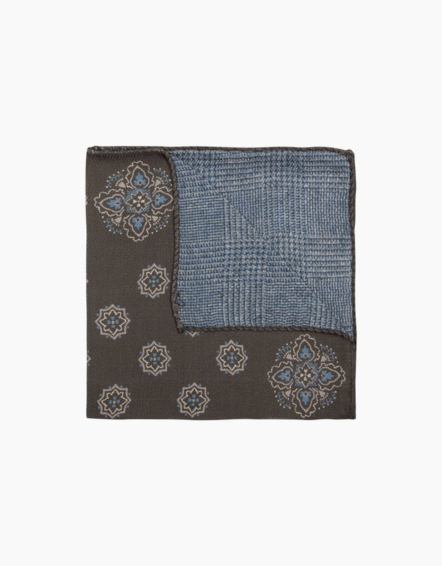 Khaki Paisley Check Silk Pocket Square