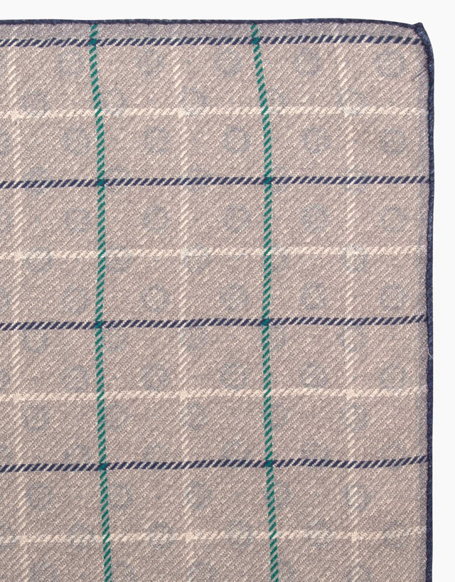 Light Grey Geo Check Pocket Square