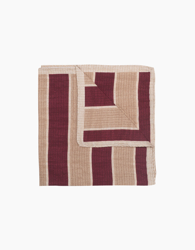 Cream knit print striped silk pocket square