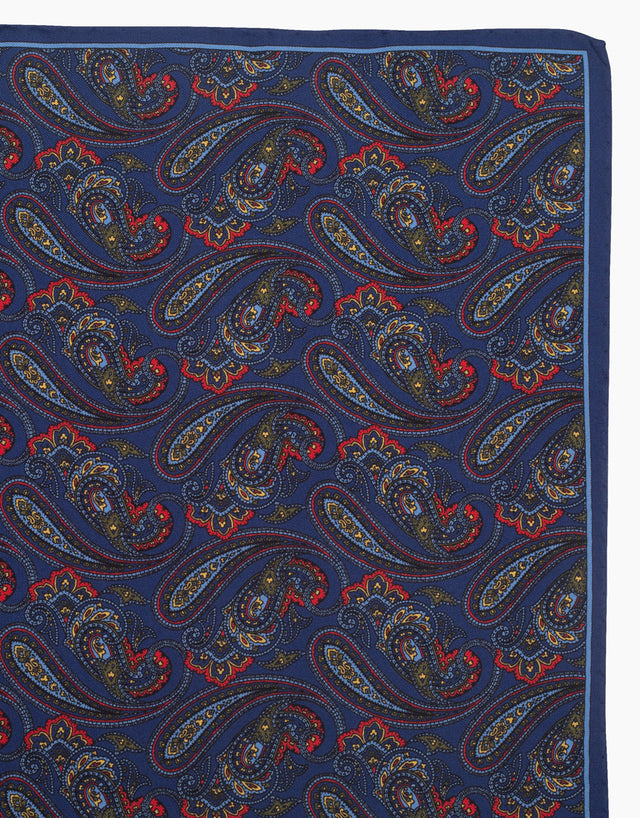 Navy paisley pocket square