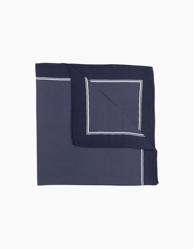 Blue & white dot pocket square