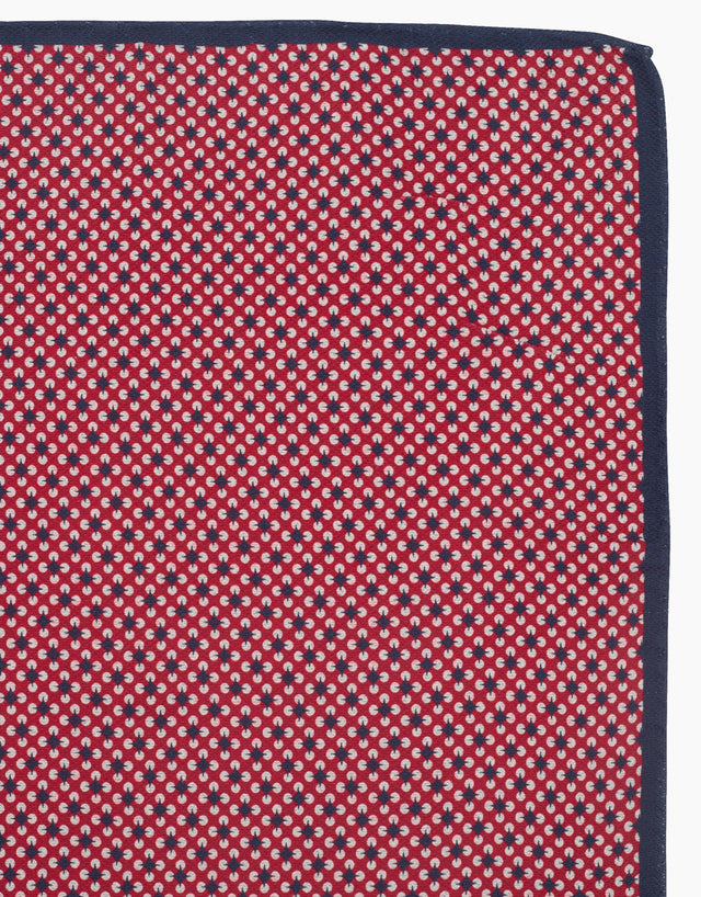 Red geometric & dot double sided pocket square