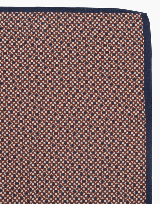 Brown geometric & dot double sided pocket square