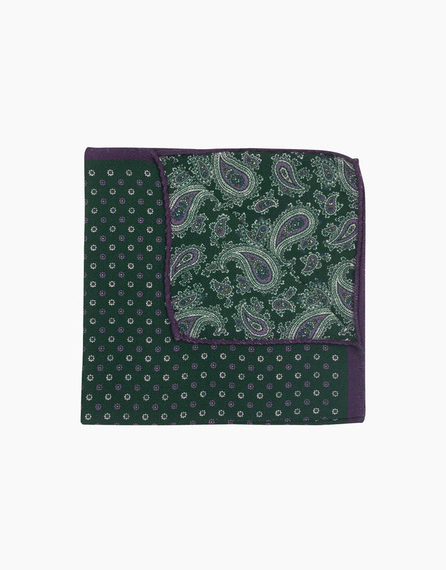 Green paisley & floral double sided pocket square