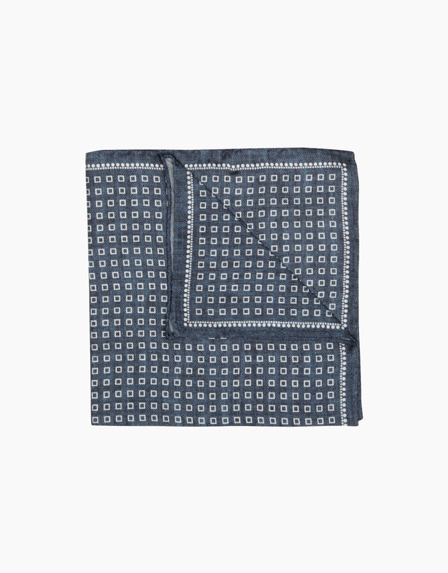 Indigo geometric pocket square