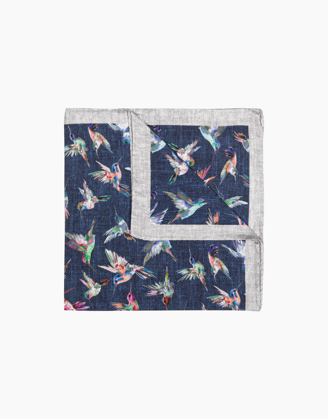 Blue hummingbird pocket square