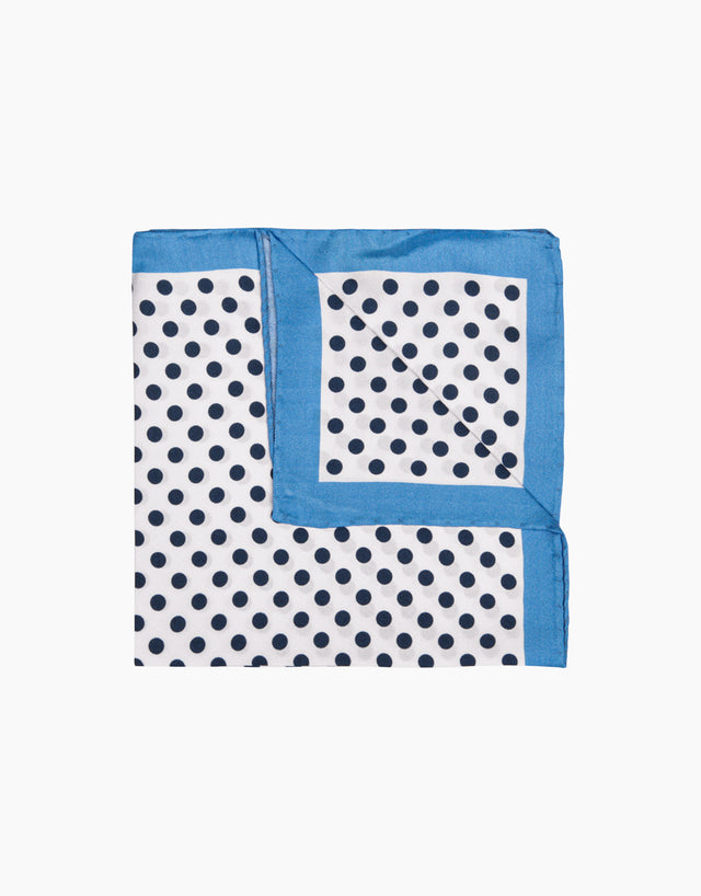 White & blue dot pocket square