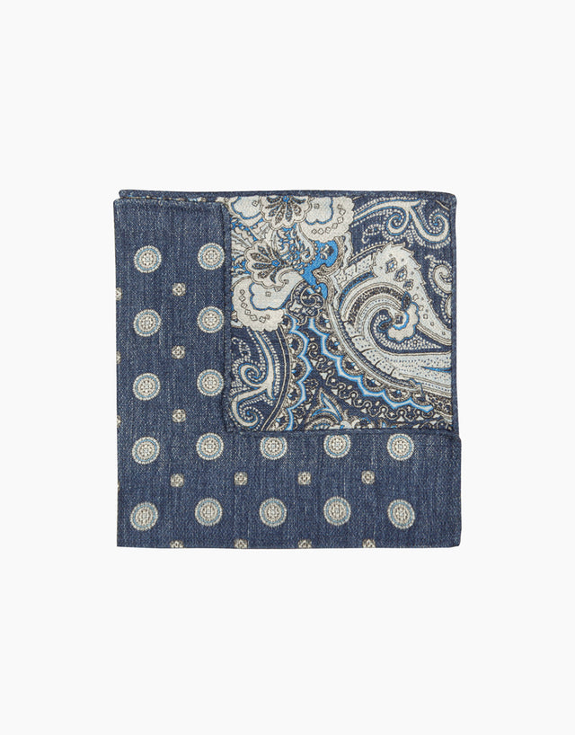 Indigo paisley and dot double sided pocket square