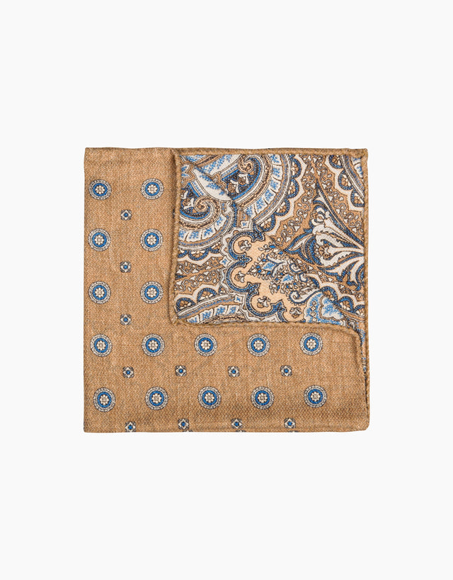 Brown paisley and dot double sided silk pocket square