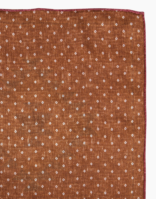 Pink and brown geometric double sided silk pocket square