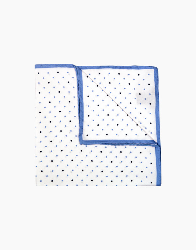 Light blue dot silk pocket square