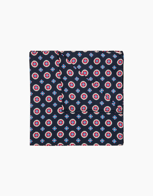 Navy floral dot pocket square