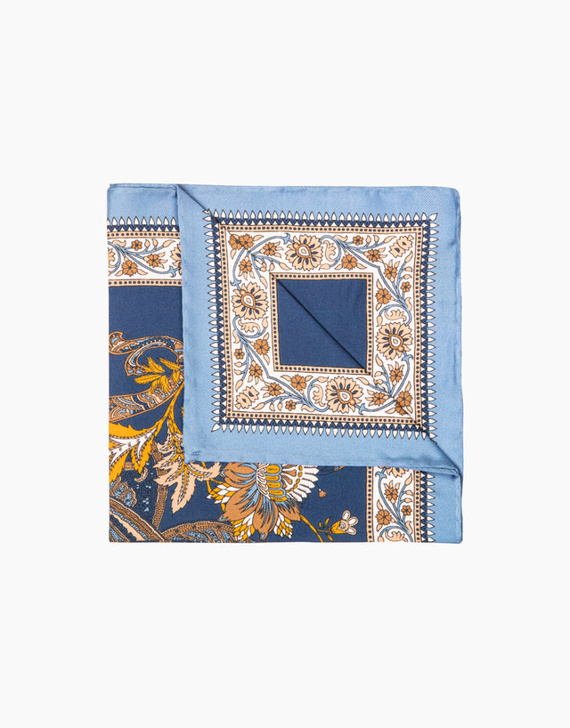 Light blue paisley silk pocket square