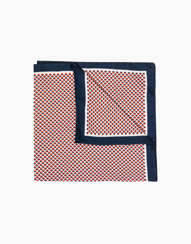 Red geometric silk pocket square