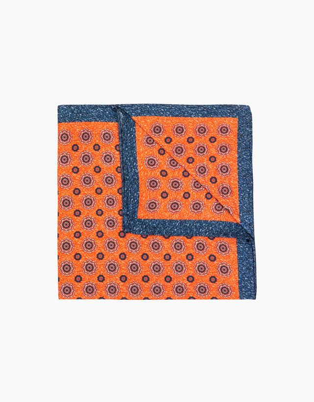 Orange dot silk pocket square