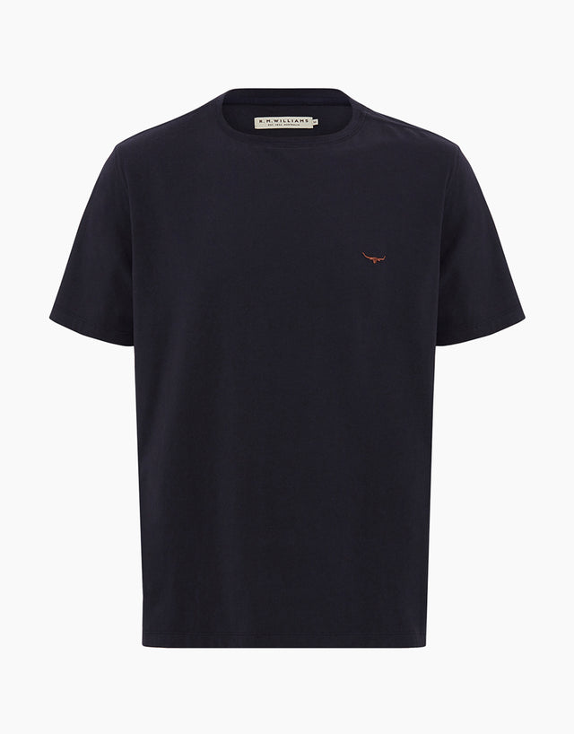 R.M. Williams Parson Navy & Chestnut Cotton T-Shirt