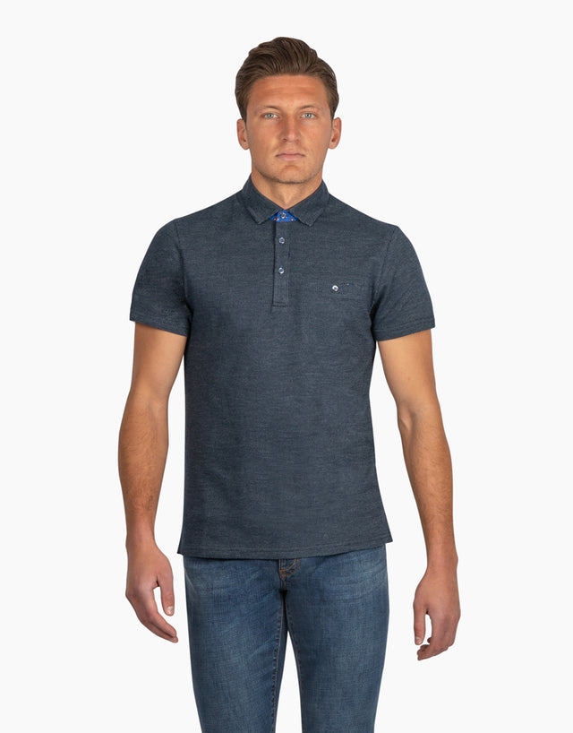 Portofino Navy Microdesign Short Sleeve Polo Shirt