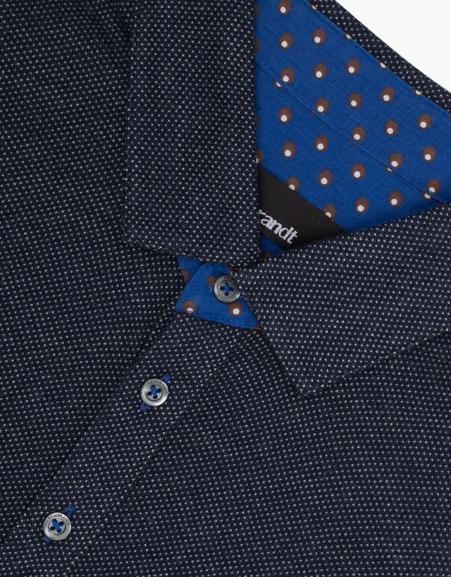 Portofino Navy Micro-design Polo Shirt