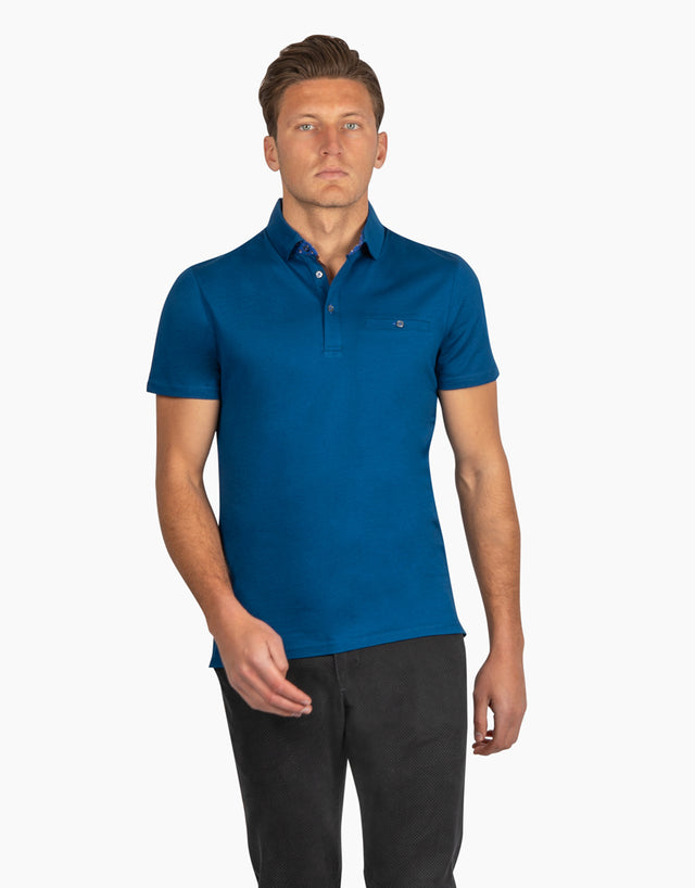 Portofino Blue Short Sleeve Polo Shirt